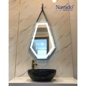 Gương đèn led treo tường dây da Diamond
