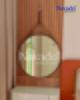 Gương trơn dây da bàn trang điểm
